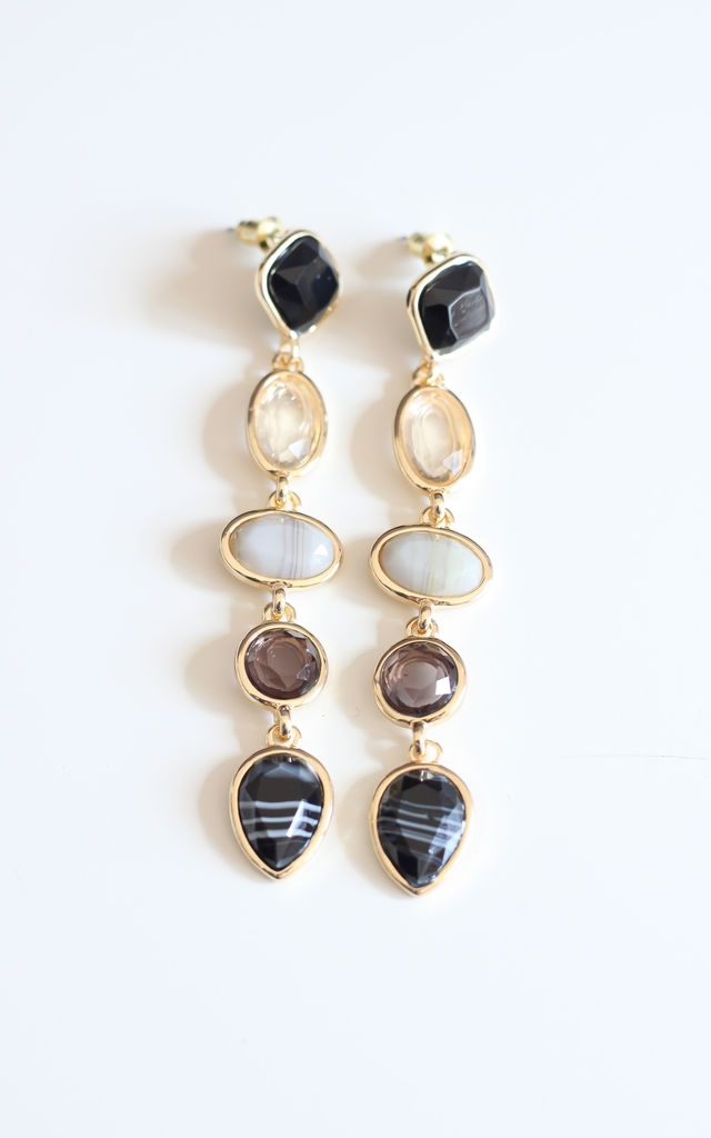 Long Black & White Crystal Statement Earrings by Free Spirits