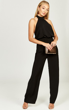 Kiki Black halterneck backless jumpsuit by Phoenix + Feather