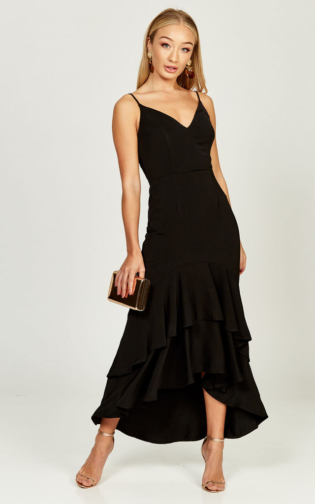 Ciara black double ruffle hem dress by Phoenix & Feather