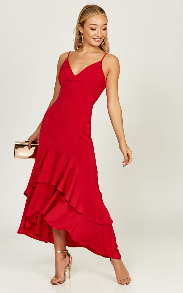 Ciara red double ruffle hem dress by Phoenix + Feather