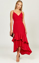 Ciara red double ruffle hem dress by Phoenix & Feather
