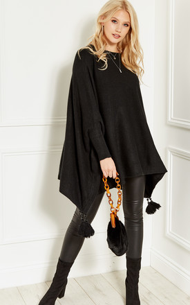 Black Tassel Bottom Poncho Jumper by Bella and Blue Product photo