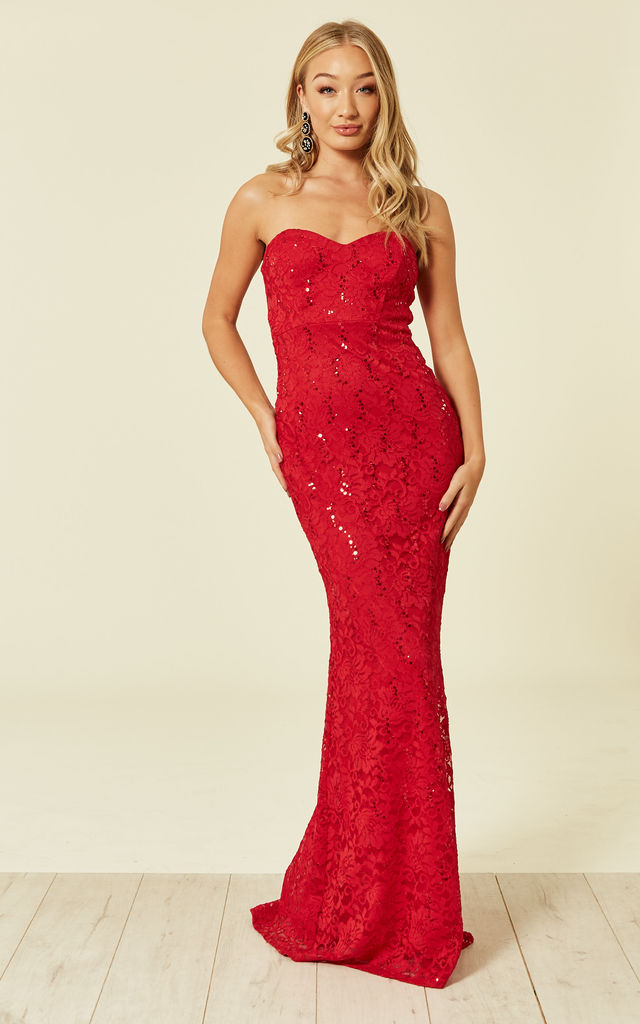 92f9c2b2216c Lace Strapless Maxi Gown Sequin | FLOUNCE LONDON | SilkFred