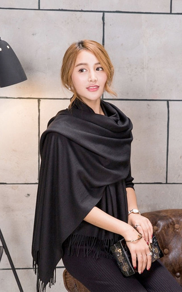 Black Soft Wool Cashmere Scarf/Shawl by Urban Mist