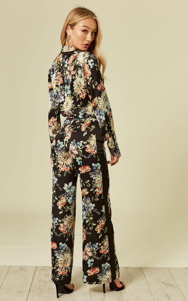 Floral Print Satin Wide Leg Trousers by Pretty Darling
