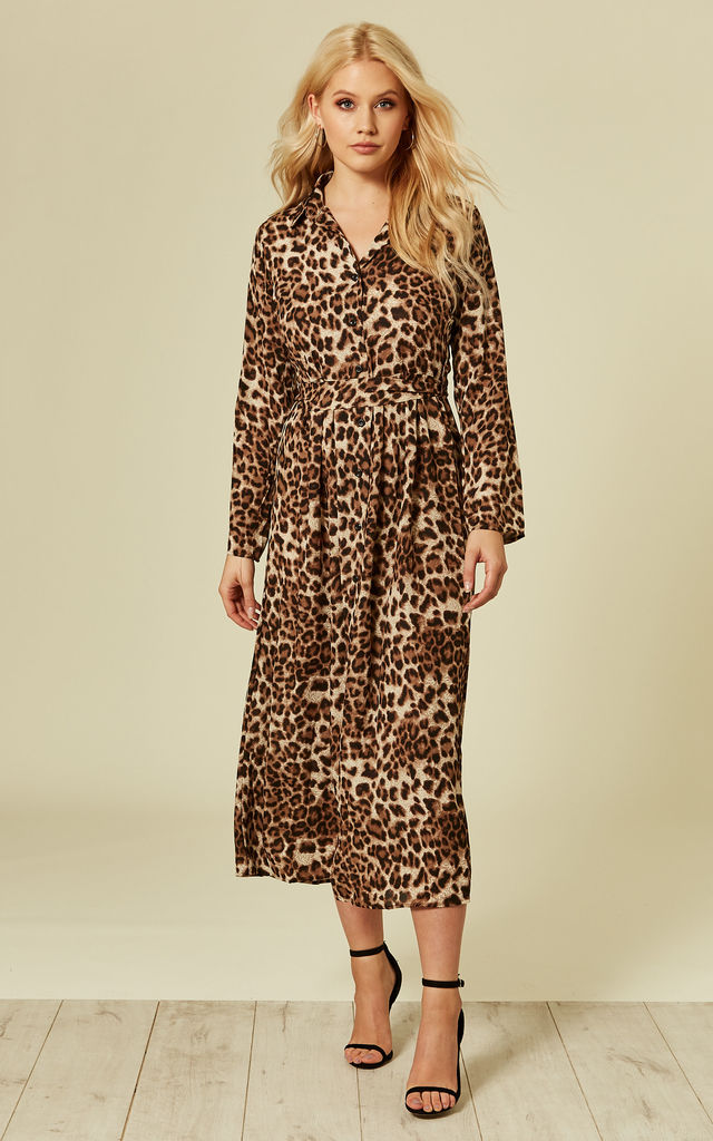 380847e770 ... Brown Leopard Animal Print Long Sleeve Maxi Dress by ANGELEYE ...