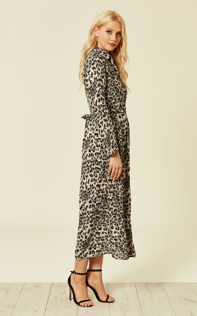 74f11ec72e ... Grey Leopard Animal Print Long Sleeve Maxi Dress by ANGELEYE ...