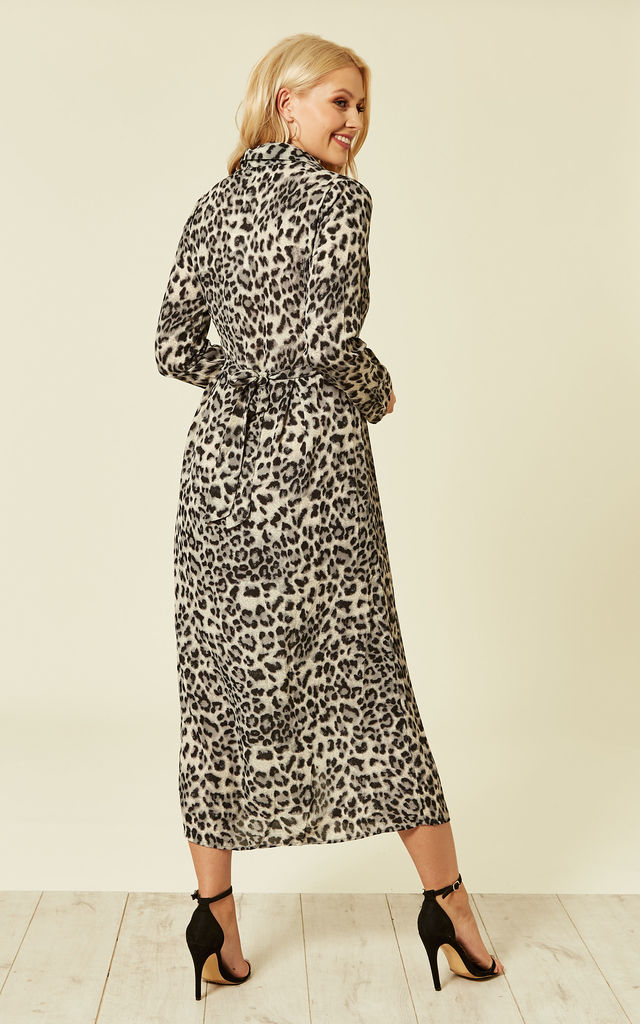 ccfa42e5a5 ... Grey Leopard Animal Print Long Sleeve Maxi Dress by ANGELEYE
