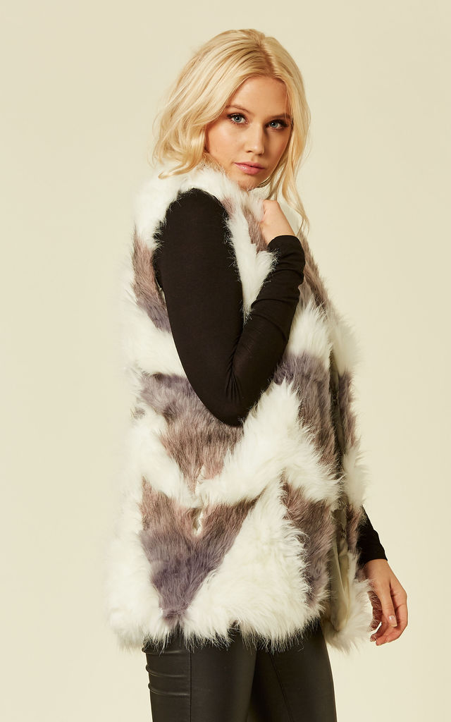 Off White/Grey Patchwork Fluffy Faux Fur Gilet by KOOKUU KOUTURE