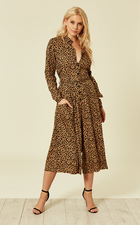 Leopard Culotte Shirt Jumpsuit Dark Camel by Ruby Rocks Product photo