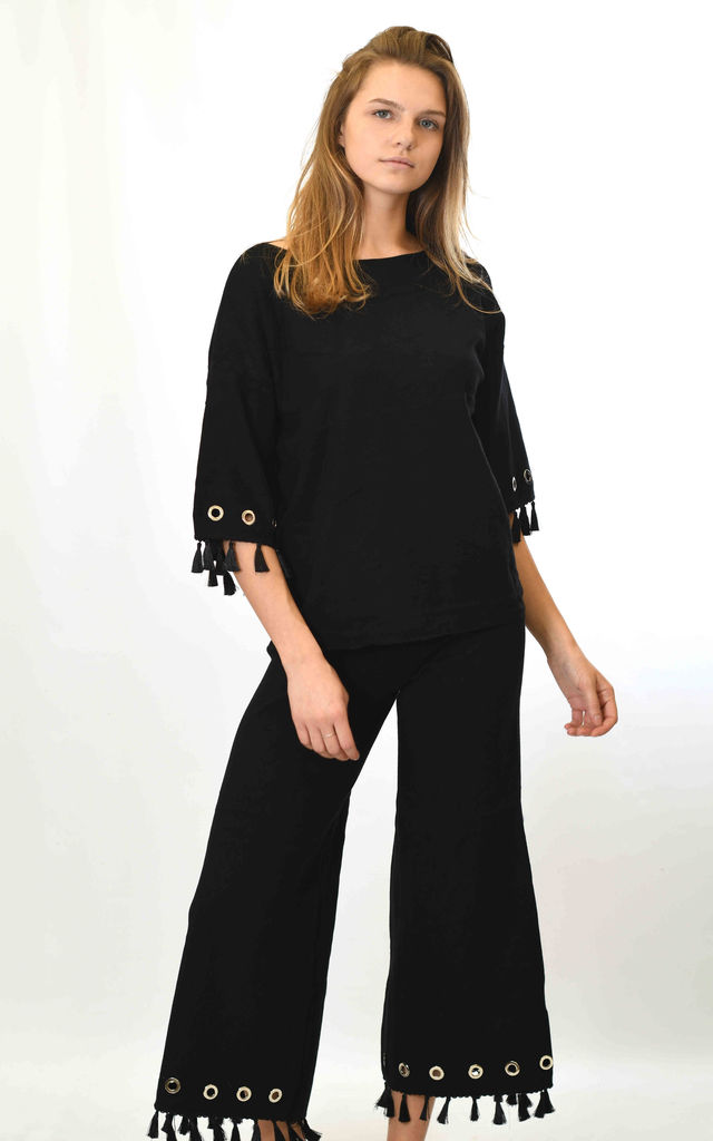 Top and Trousers Co-ord with Tassels in Black by Lucy Sparks