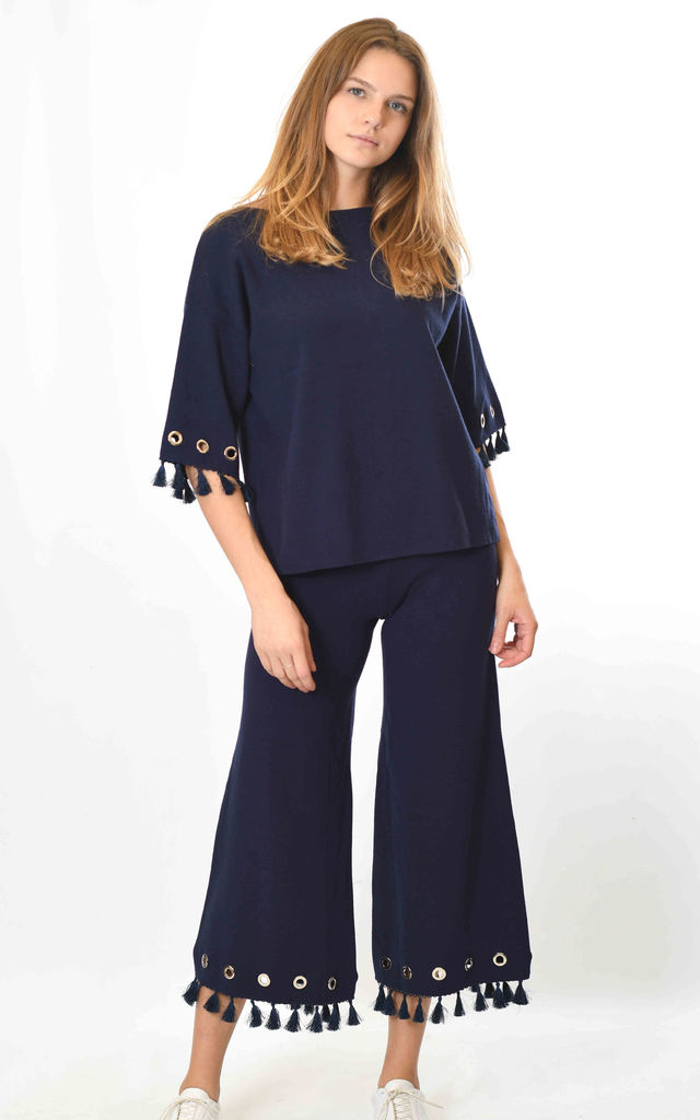 Top and Trousers Co-ord with Tassels in Navy by Lucy Sparks