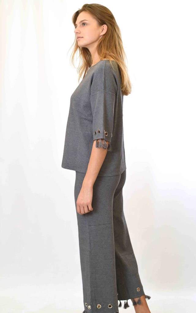 Top and Trousers Co-ord with Tassels in Grey by Lucy Sparks