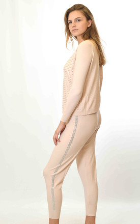 Long Sleeve Top and Leggings Co-ord with Crystals in Pink by Lucy Sparks