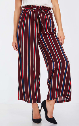 MILLIE – Stripe Paper Bag Waist Plum Palazzo Trousers by Blue Vanilla