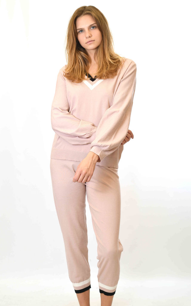 Striped V Neck Top and Trousers Co-ord in Light Pink by Lucy Sparks