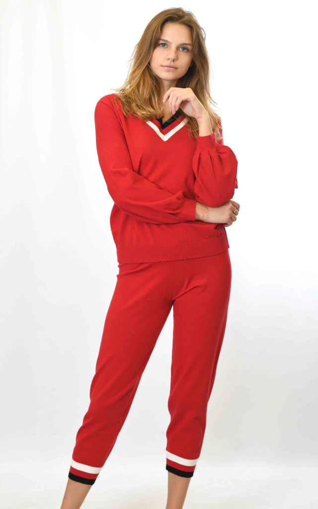 V NECK STRIPED KNIT COORDINATE - RED by Lucy Sparks