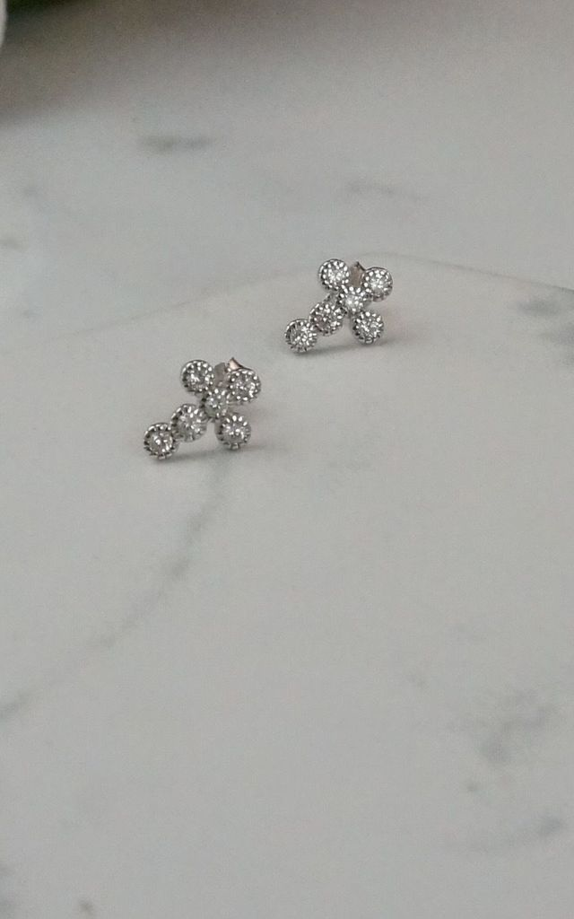 Mini sterling silver cross stud earrings by EPITOME JEWELLERY
