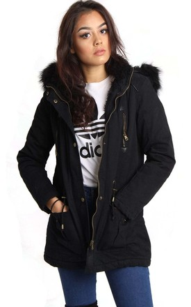 Black Detachable Hooded Faux Fur Trim Parka Jacket Coat by Urban Mist