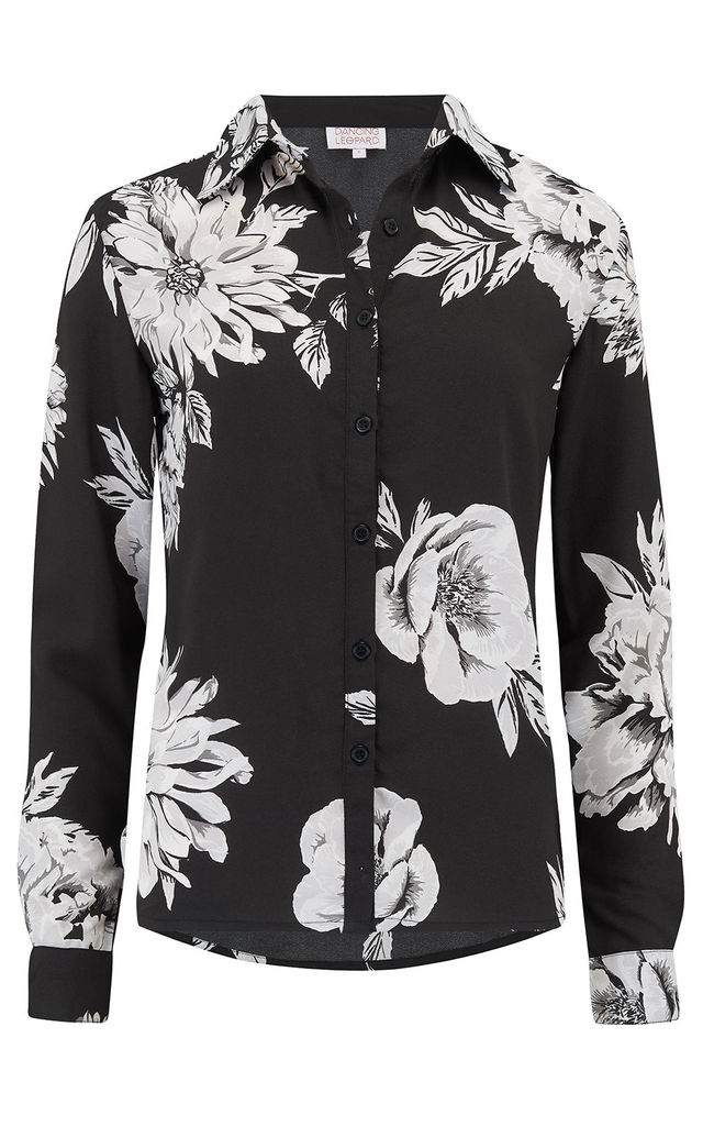 San Diego Shirt in Black & White Peony image