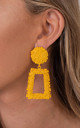 Mustard Fashion Large Chunky Metal Geometric Drop Earrings by Saint Genies