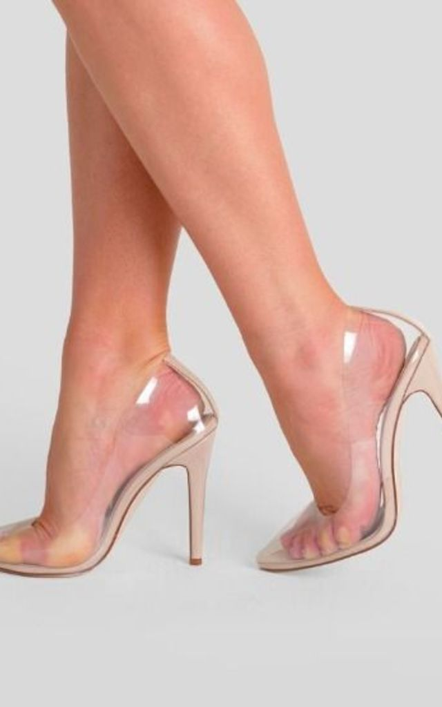 Kate Perspex Court Heel in Clear Patent by Poised London