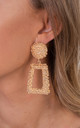 Gold  Fashion Large Chunky Metal Geometric Drop Earrings by Saint Genies