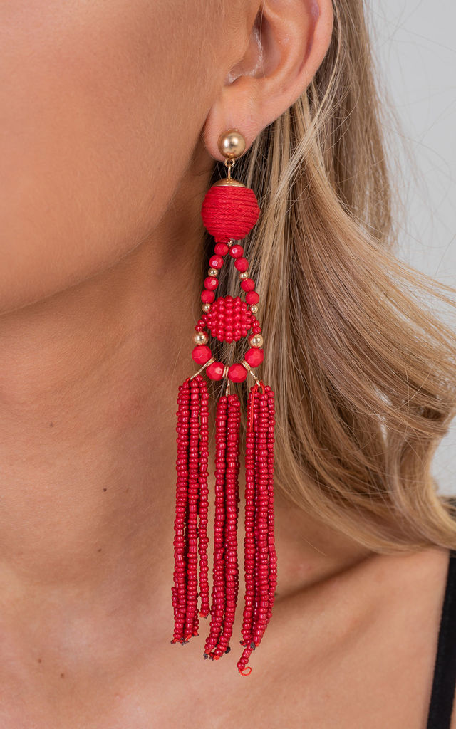 Red Elegant Tassel Drop Earrings by Saint Genies