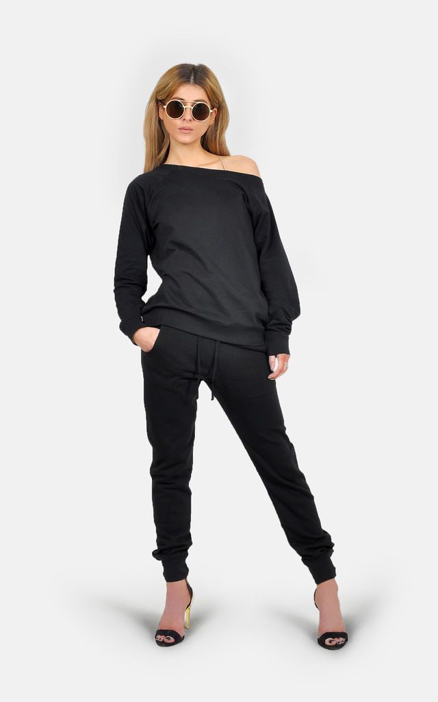 Athleisure off shoulder slimfit lounge tracksuit Cozy casual cool by The Left Bank