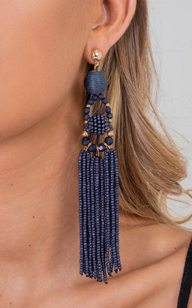Navy Elegant Bohemia Tassel Drop Earrings by Saint Genies