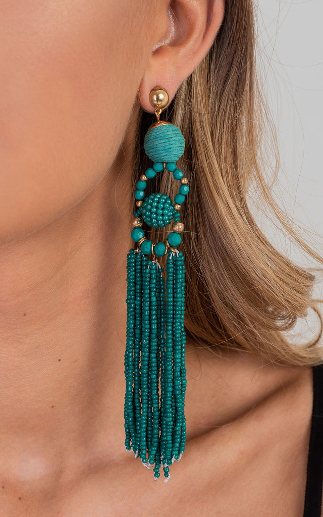 Teal Elegant Tassel Drop Earrings by Saint Genies
