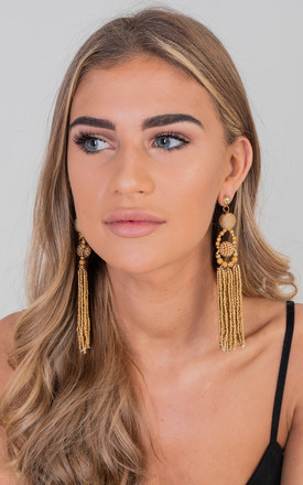 Gold Elegant Tassel Drop Earrings by Saint Genies