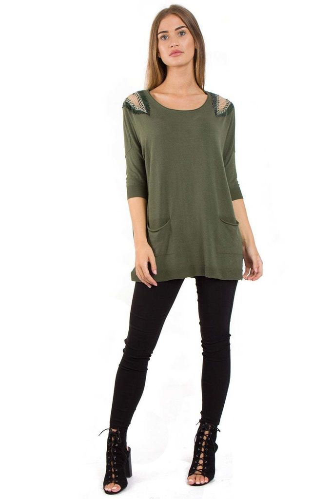 Khaki Green Embellished Shoulder Oversized Pocket Jumper by Urban Mist