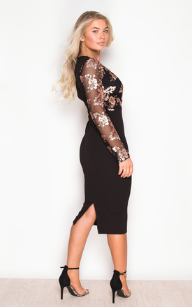 Luna Long Sleeve Sequin Top Bodycon Dress Black by Girl In Mind