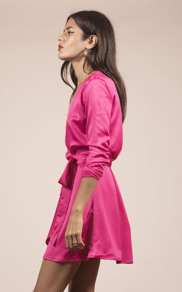 MARLEY WRAP DRESS IN Hot Pink by Dancing Leopard