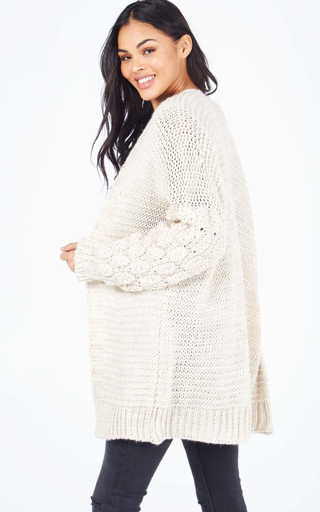 MAIA – Detailed Balloon Sleeve Beige Knitted Cardigan by Blue Vanilla
