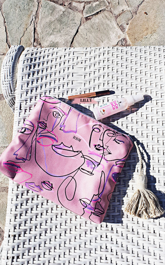 Girl talk Monogram Clutch Bag with Abstract Face Print by Rianna Phillips