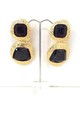 Chunky Black and Gold Statement Earrings by Olivia Divine Jewellery