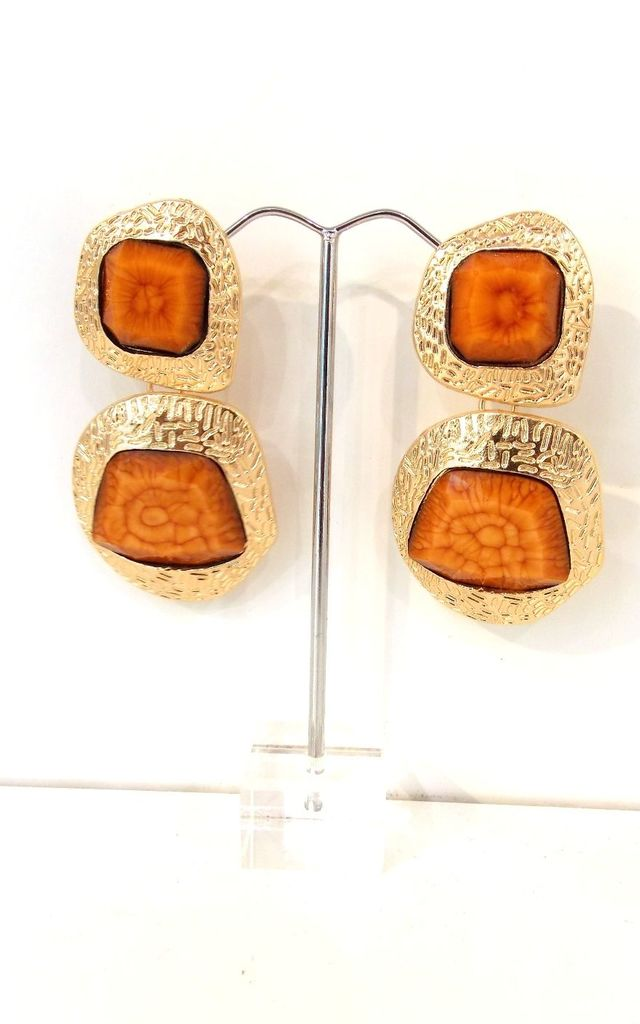 Chunky Burnt Orange and Gold Statement Earrings by Olivia Divine Jewellery