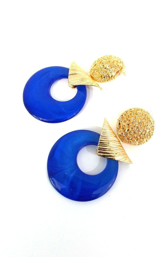 Blue and Gold Geometric Drop Earrings by Olivia Divine Jewellery