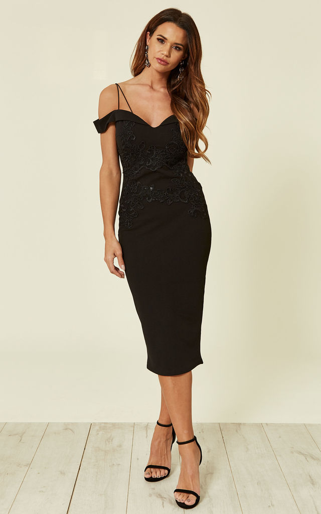 Black Off The Shoulder Lace Midi Dress With Delicate Straps by AX Paris