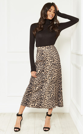 Suedette Leopard Midi Skirt by Bella and Blue Product photo