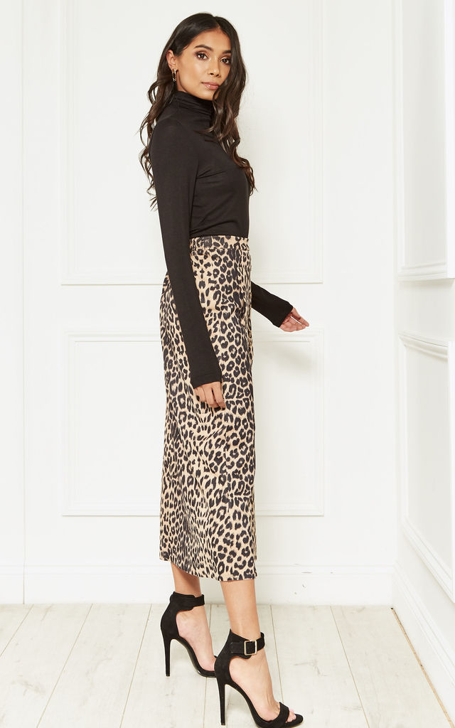 Suedette Leopard Midi Skirt by Bella and Blue