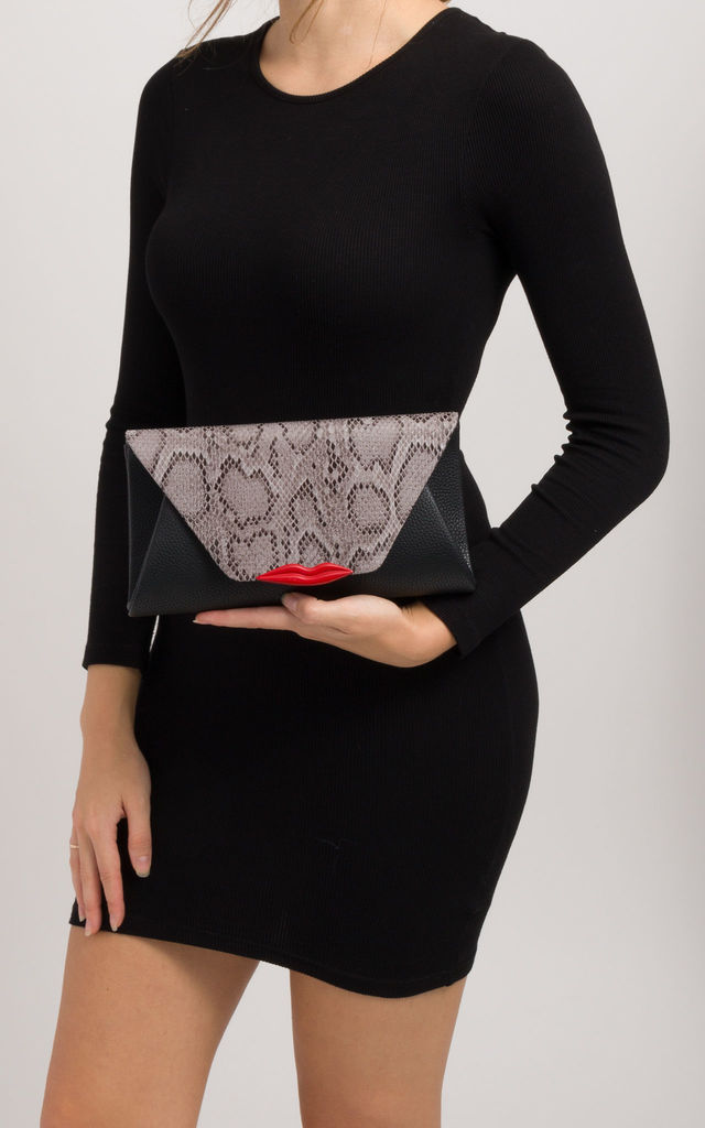 Lindsay Grey Snakeskin Pattern Lip Detail Envelope Clutch by KoKo Couture