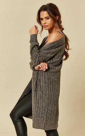 Dark Grey Long Sleeve Cardigan by Pieces Product photo