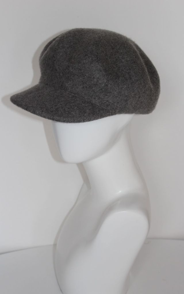 Greta light grey Newsboy Cap Hat In Cashmere Wool by Kate Coleman