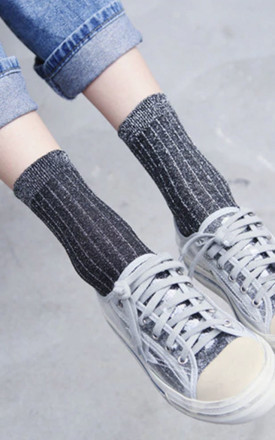 Alexa Grey Glitter Sparkle Ankle Socks by Ajouter Store Product photo