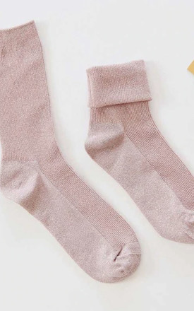 Alexa Pink Glitter Ankle Socks by Ajouter Store