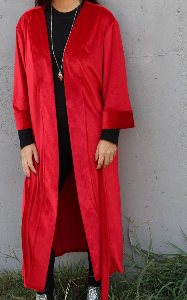 Luxe Ruby Red Velvet Kimono Jacket by House of Zana