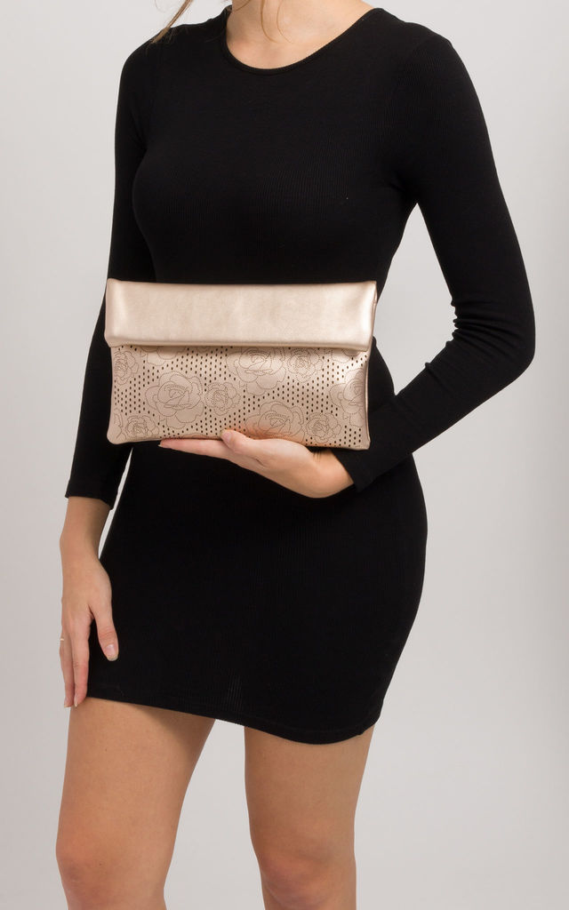 Martina Champagne Folded Laser Cut Clutch Bag by KoKo Couture